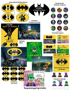 Lego Batman Movie Party Package Printables-Includes Invitation & Thank You + FREE Personalization (Over 20 Items!)