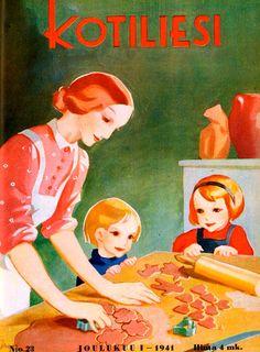 Old Finnish magazine. Kotiliesi cover, 1941. Joululeivonta - Christmas baking Christmas memories-passing it down to my children