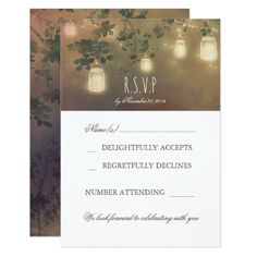 Rustic Mason Jar Light Branches Wedding RSVP Cards