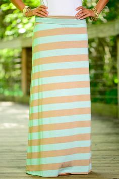 This mint and khaki striped maxi skirt is amazing! The sweet fit plus the super soft fabric is perfection!