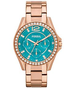 Fossil Watch, Women's Riley Rose Gold-Tone Stainless Steel Bracelet 38mm