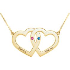 "14kt yellow gold engraveable double heart necklace, 16"". Find it at a jeweler near you: www.stuller.com/locateajeweler #hearts #seeinghearts #heartjewelry #customjewelry"