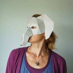 Elephant Half Mask Make your own Mask from waste by Wintercroft