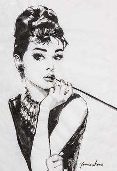 Audrey Hepburn Black and White Charcoal Drawing. Audrey Hepburn Tattoo, Audrey Hepburn Photos, Audrey Hepburn Style, Painting Tattoo, Painting & Drawing, Audrey Hepburn Illustration, Romantic Pictures, Watercolor Artwork, Classy Chic