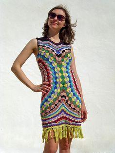 TENDENCIAS de la moda de CROCHET - ganchillo vestido los colores de fuegos artificiales