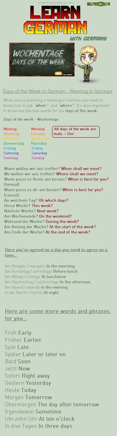 Learn German – Days of the week / Meeting by TaNa-Jo on DeviantArt Learn German – Days of the week / Meeting by TaNa-Jo on DeviantArt Learn German – Days of the week / Meeting by TaNa-JoLearn German – Family by…Learn the days of the week in German! German Language Learning, Language Study, Learn A New Language, Spanish Language, French Language, Dual Language, German Grammar, German Words, German Resources