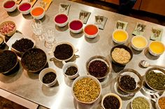 Beautiful layout of different types of tea. Click through for advice on brewing tea.