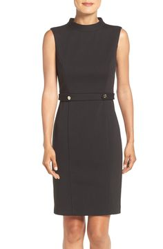 Ellen Tracy Mock Neck Ponte Sheath Dress available at #Nordstrom