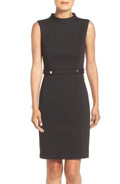 Ellen Tracy Mock Neck Ponte Sheath Dress available at #Nordstrom