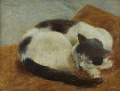 Dod Procter R.A. (British, 1892-1972) Black and white cat sleeping  9 x 12in (22.8 x 30.5cm) (together with a British School, 19th century, oil on canvas painting of a cat on a stone ledge, 12 x 14in (20.5 x 35.5cm) (2))