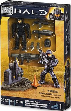 Mega Bloks Halo UNSC Ammo Pack I by Mega Bloks. $19.99. NEW UNSC Marine micro action figure. Weapons include: Assault Rifle, Battle Rifle, Rocket Launcher and Frag Grenades (x2). Buildable base plate and ammo storage unit. From the Manufacturer                Establish your army, build and expand your units with the Halo UNSC Ammo Pack by Mega Bloks. The New UNSC*Marine is trained to use some of mankind's most advanced weapons. Arm your Marine with highly de...