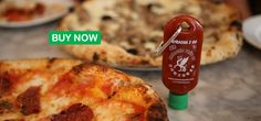 Sriracha 2 Go being used on pizza.