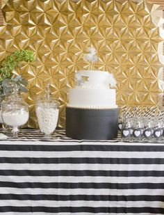 This black, white, and gold color scheme would make for a super chic bridal shower.