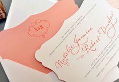 Die cut peach wedding invitation