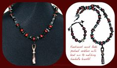 Handcarved wood Ankh pendant necklace with bead mix & matching shamballa bracelet. http://www.navahadijewelry.com/2016/11/handcarved-wood-ankh-pendant-necklace-w.html