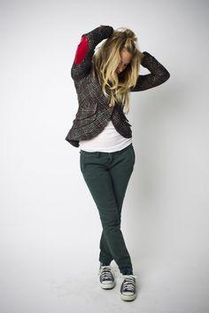 One Button Elbow Patch Blazer in Black Plaid (Scarlet Leather Patch) Smythe Blazer.  Love Smythe