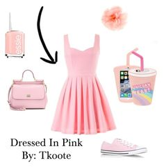 Dressed In Pink by tkoote on Polyvore featuring polyvore, fashion, style, Converse, Dolce&Gabbana, claire's, Skinnydip and Essie