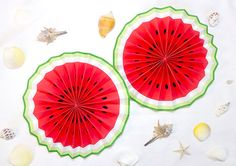 円形のスイカのペーパアーファン Watermelon, Diy And Crafts, Tableware, Party, Bebe, Dinnerware, Tablewares, Parties, Dishes