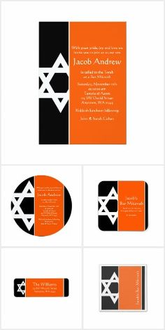 Orange Black Star of David Bar Mitzvah