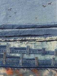 Denim beach by Textile artist Sian Kibblewhite