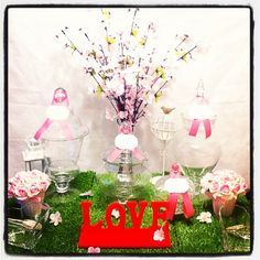 Sakura candy buffet corner bar cherry blossom, we love to create creative candy bar design, check out facebook: www.facebook.com/candyjarjubilee we are located in Hong Kong. Lets hv a treat for your wedding #cherryblossom #candycorner #candybuffet #candybar #candytable #dessertbar #hongkong #wedding #sweet