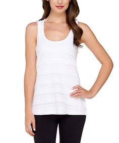 White Pointelle Racerback Tank - Plus Too