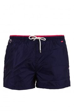 BARTON BW - beachwear - Man - Gas Jeans - Bathing trunks short boxers, two-tone waist sash, side slits on the bottom, side pockets and one back pocket with velcro, embroidered logo. Colour: Blue