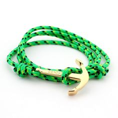 Bohemian Gold color Anchor Bracelet Men Femme Long Wrap Rope Charms Bracelets & Bangles for Women Love Bracelets Fashion Jewelry - gold green color