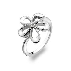 Breeze Jewellery: Pretty, Rhodium plated, Sterling Silver Flower Ring with Curved Petals. With Beautiful White Cubic Zirconia Pave Detail. We are located on stand at Spring Fair Spring Fair, Sterling Silver Flowers, Birmingham, Breeze, Jewellery, Detail, Watch, Rings, Pretty