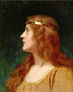 Edmund Blair Leighton (English, 1853-1922). A Medieval Beauty
