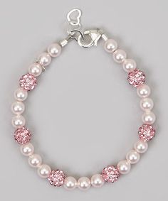Pink Pearl Pave Bead Bracelet; would make up into a nice necklace for a beautiful set