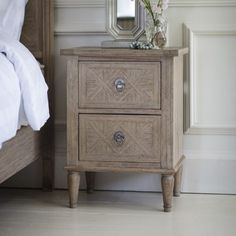 A stunning French style bedside table to match perfectly with our Camille French bed. Constructed from solid Mindy wood the Camille bedside is finished with a natural weathered appeal, ideal for modern or traditional homes. Unique Bedside Tables, Wooden Bedside Table, Bedside Lockers, Bedside Cabinet, Nightstand, Online Furniture, Luxury Furniture, Bedroom Furniture, Dining Furniture