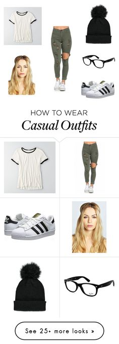 """Casual."" by riaelena on Polyvore featuring American Eagle Outfitters, adidas Originals, Forever 21, Ray-Ban and Boohoo"