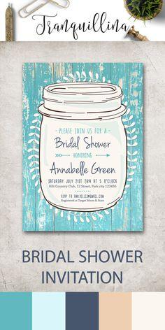 4003453755e Rustic Bridal Shower Invitation Mason jar Bridal Shower Invites