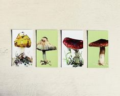 Pack of 4 mushroom magnets. Kitchen décor for nature lovers | Etsy Housewarming Present, Printing Companies, Watercolour Painting, Small Gifts, Decoration, House Warming, Nature, Magnets, Stuffed Mushrooms