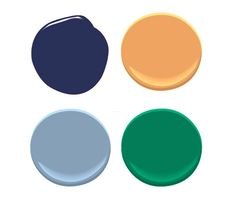 Colors (clockwise from top): Bold Blue, Antelope Canyon, Irish Clover, Denim Wash, all by Benjamin Moore. Orange Color Palettes, Blue Palette, Room Colors, House Colors, Benjamin Moore Bathroom, Navy Nursery, Benjamin Moore Colors, Fall Capsule Wardrobe, Emerald Color