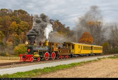 """es44c4:Currier & Ives. Like a scene straight off a Currier & Ives colored lithograph, the Northern Central Railroad's Locomotive 17 """"York"""" takes a short passenger consist south through Seitzville, PA, en route to Baltimore, amid fading fall foliage.When I started photographing preserved steam a few years back, about the last thing I ever expected to witness was a scratch-built, 1860s-era steam locomotive replica in regular tourist service. At a time when most tourist railroads with historic…"""