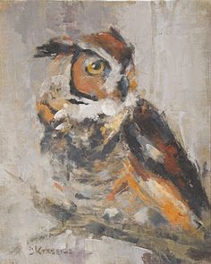 Private Eyes Are Watching You - Owl Painting - by Deb Kirkeeide