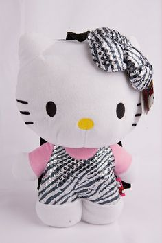 Hello Kitty Zebra Sequin Plush Backpack