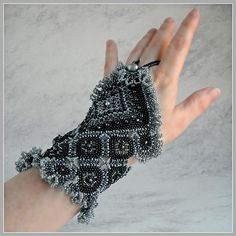 The Lamplight Black Fingerless Glove Cuff : (Left hand only) by FrancescasFancy, $1275.00 USD