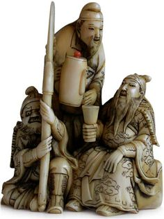 19th Century Japanese Okimono Netsuke  Three Heros Romance of the Three Kingdoms Netsuke Signature: Ono Ryoji