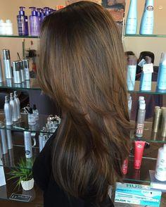 Layered+Golden+Brown+Balayage+Hair