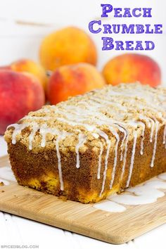 blackberry dessert recipes, delicious desserts recipes, fun thanksgiving dessert recipes - This Peach Crumble Bread is loaded with diced peaches and topped with a brown sugar cinnamon crumble.  A slice of this bread is the perfect way to start a warm summer morning! #WalmartProduce