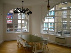 The Soho Collective is a coworking space in London's West End. Light-crunched, newly kitted out in a very stylish way with great views right down Old Compton Street, a bar and a roof terrace. Coworking Space, Great View, Soho, Windows, London, Table, Europe, Spaces, Ramen