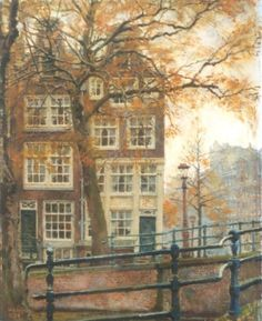 Reguliersgracht hoek Keizersgracht, Amsterdam - Willem Gerard Hofker Dutch painter 1902 - 1981