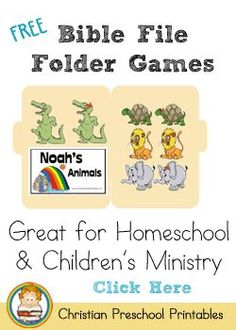 Free Bible File Folder Games from Christian Preschool Printables!  Noah's Ark, Creation, Nativity, Easter, Elijah and so many more!