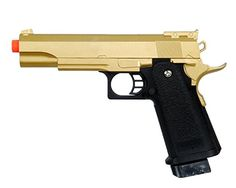 Galaxy G6G 11 Scale Colt 1911 Metal Airsoft Pistol  Gold w Black Handle ** Click image for more details.
