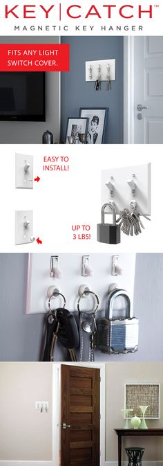 Have you ever lost your keys right before you head out the door? This magnetic key hanger keeps your keys hanging from your light switch cover so you'll always know where they are! Its super easy to install and holds heavy locks and dog leashes easily. Its a perfect DIY solution for any home! Use coupon code ORGANIZE15 for 15% off this month!