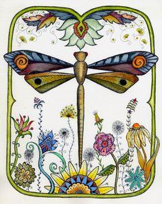 Dragonfly Garden Color Print by crookedlittlestudio on Etsy Tangle Doodle, Zen Doodle, Doodle Art, Dragonfly Art, Dragonfly Tattoo, Mandala, Colorful Garden, Graphic, Clipart