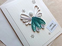 handmade paper quilled Christmas card Merry Christmas angel